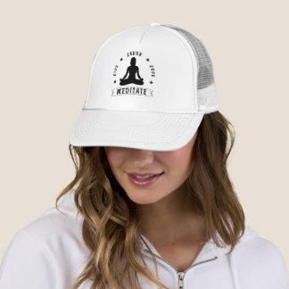 Live Laugh Love Meditate Female Text (blk) Trucker Hat