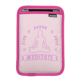 Live Laugh Love Meditate Female Text (neon) iPad Mini Sleeve