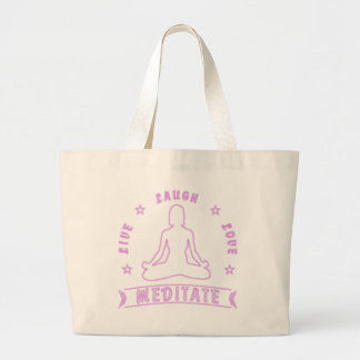 Live Laugh Love Meditate Female Text (neon) Large Tote Bag