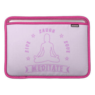 Live Laugh Love Meditate Female Text (neon) MacBook Sleeve