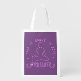 Live Laugh Love Meditate Female Text (neon) Reusable Grocery Bag