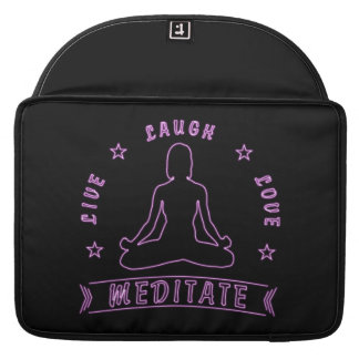 Live Laugh Love Meditate Female Text (neon) Sleeve For MacBooks