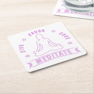 Live Laugh Love Meditate Female Text (neon) Square Paper Coaster