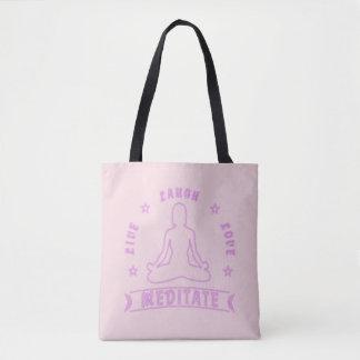 Live Laugh Love Meditate Female Text (neon) Tote Bag
