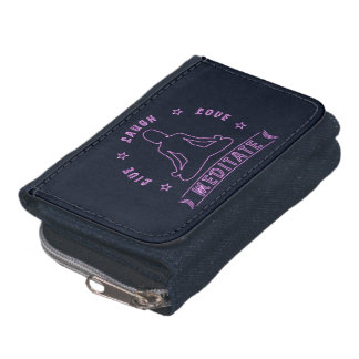Live Laugh Love Meditate Female Text (neon) Wallets
