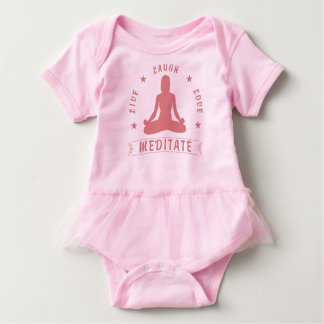 Live Laugh Love Meditate Female Text (pink) Baby Bodysuit