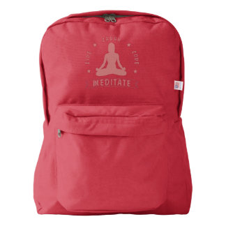 Live Laugh Love Meditate Female Text (pink) Backpack