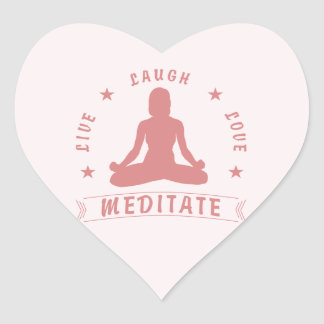 Live Laugh Love Meditate Female Text (pink) Heart Sticker