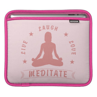 Live Laugh Love Meditate Female Text (pink) iPad Sleeve