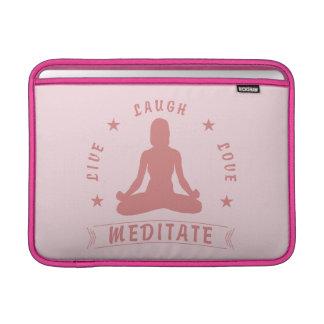 Live Laugh Love Meditate Female Text (pink) MacBook Sleeve