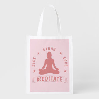 Live Laugh Love Meditate Female Text (pink) Reusable Grocery Bag