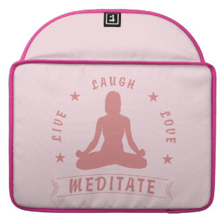 Live Laugh Love Meditate Female Text (pink) Sleeve For MacBooks
