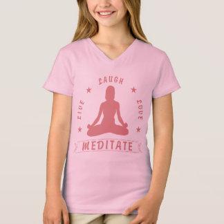 Live Laugh Love Meditate Female Text (pink) T-Shirt