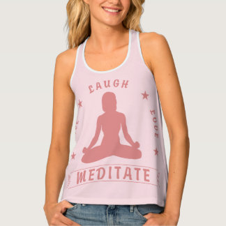 Live Laugh Love Meditate Female Text (pink) Tank Top