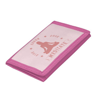 Live Laugh Love Meditate Female Text (pink) Trifold Wallet