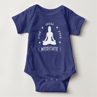 Live Laugh Love Meditate Female Text (wht) Baby Bodysuit