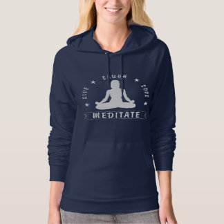 Live Laugh Love Meditate Female Text (wht) Hoodie