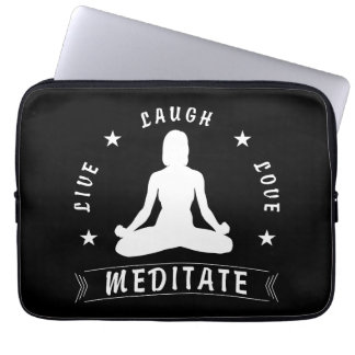 Live Laugh Love Meditate Female Text (wht) Laptop Sleeve