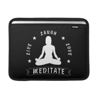 Live Laugh Love Meditate Female Text (wht) MacBook Sleeve