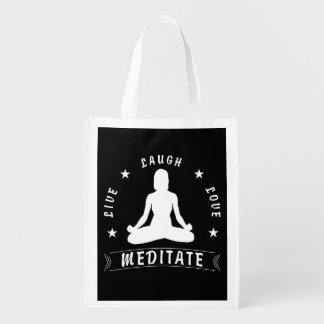 Live Laugh Love Meditate Female Text (wht) Reusable Grocery Bag
