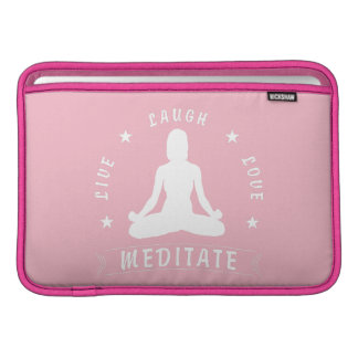 Live Laugh Love Meditate Female Text (wht) Sleeve For MacBook Air