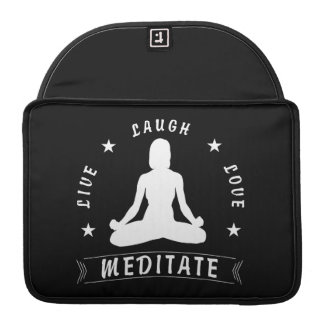 Live Laugh Love Meditate Female Text (wht) Sleeve For MacBooks