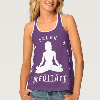 Live Laugh Love Meditate Female Text (wht) Tank Top