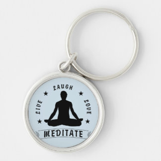 Live Laugh Love Meditate Male Text (blk) Keychain