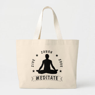 Live Laugh Love Meditate Male Text (blk) Large Tote Bag