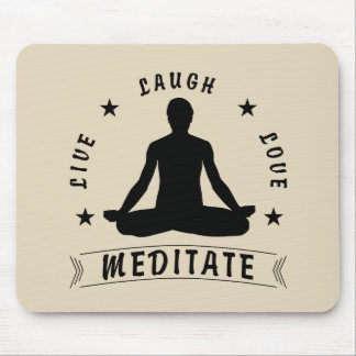 Live Laugh Love Meditate Male Text (blk) Mouse Pad