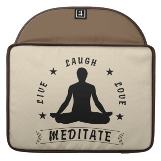 Live Laugh Love Meditate Male Text (blk) Sleeve For MacBooks