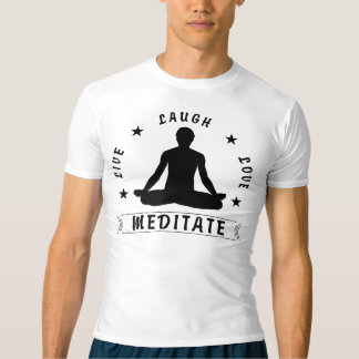 Live Laugh Love Meditate Male Text (blk) T-shirt