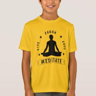 Live Laugh Love Meditate Male Text (blk) T-Shirt