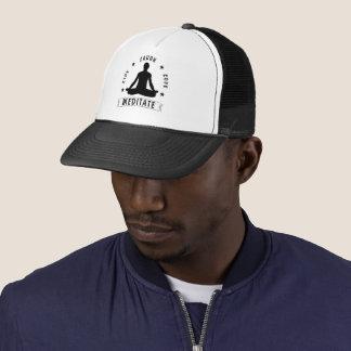 Live Laugh Love Meditate Male Text (blk) Trucker Hat