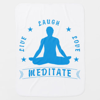Live Laugh Love Meditate Male Text (blue) Baby Blanket