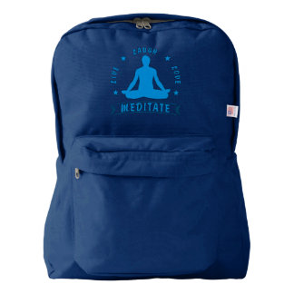 Live Laugh Love Meditate Male Text (blue) Backpack