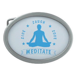 Live Laugh Love Meditate Male Text (blue) Belt Buckle