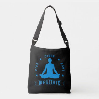 Live Laugh Love Meditate Male Text (blue) Crossbody Bag