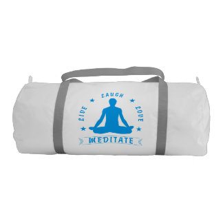 Live Laugh Love Meditate Male Text (blue) Gym Bag