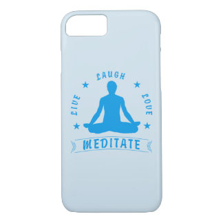 Live Laugh Love Meditate Male Text (blue) iPhone 8/7 Case