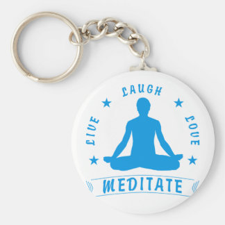 Live Laugh Love Meditate Male Text (blue) Keychain