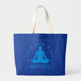 Live Laugh Love Meditate Male Text (blue) Large Tote Bag