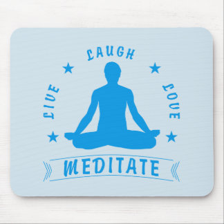 Live Laugh Love Meditate Male Text (blue) Mouse Pad