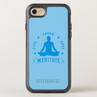 Live Laugh Love Meditate Male Text (blue) OtterBox Symmetry iPhone 8/7 Case