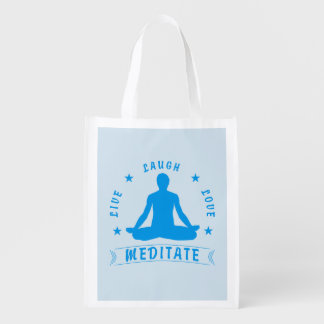 Live Laugh Love Meditate Male Text (blue) Reusable Grocery Bag