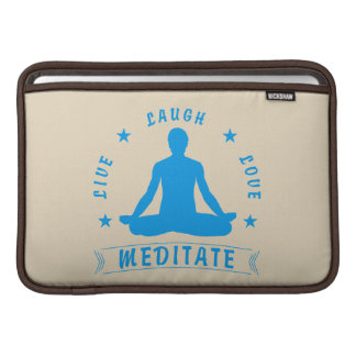 Live Laugh Love Meditate Male Text (blue) Sleeve For MacBook Air