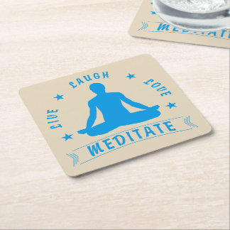 Live Laugh Love Meditate Male Text (blue) Square Paper Coaster