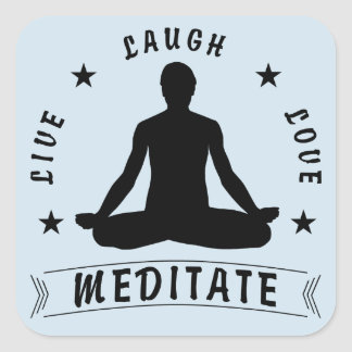 Live Laugh Love Meditate Male Text (blue) Square Sticker