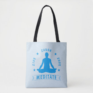 Live Laugh Love Meditate Male Text (blue) Tote Bag