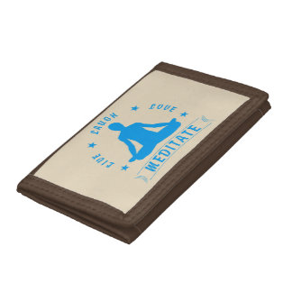 Live Laugh Love Meditate Male Text (blue) Tri-fold Wallet